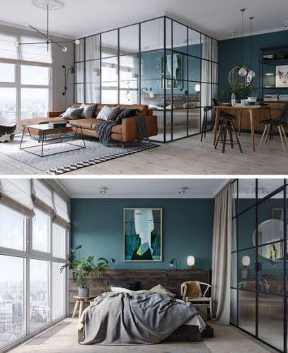 dormitor cu pereti din sticla si usa din sticla