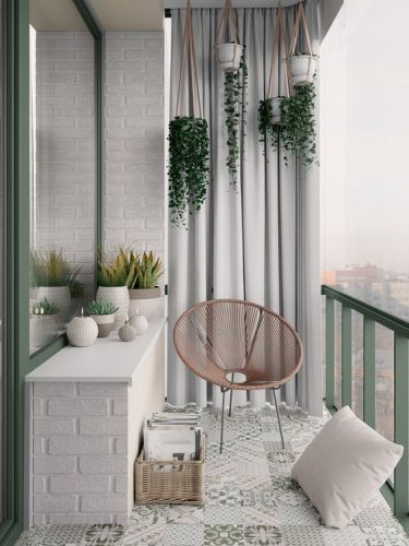 balcon amenajat in stilul scandinav cu plante decorative