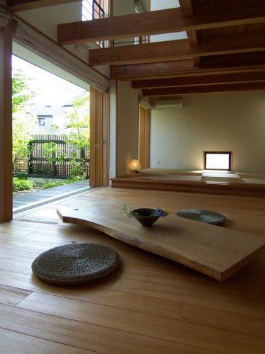 amenajari interioare in stil japonez cu pereti din sticla