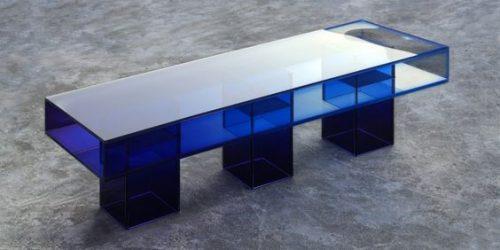 masa din sticla colorata classic blue